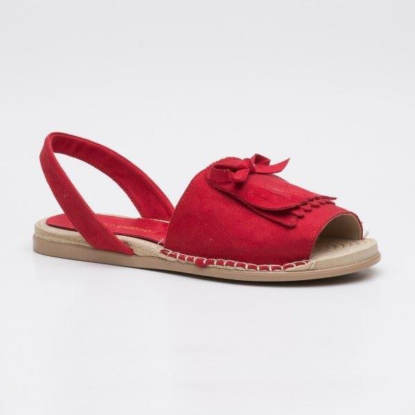 Allecra Sandalet Kırmızı-Süet