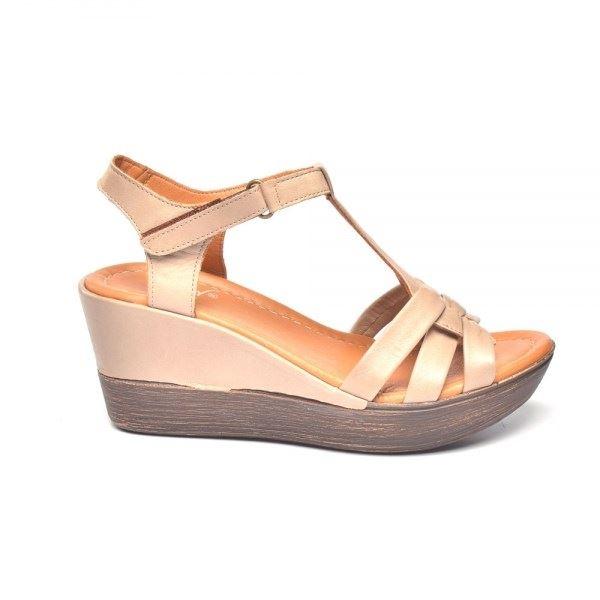 Cerelia Deri Sandalet Kum