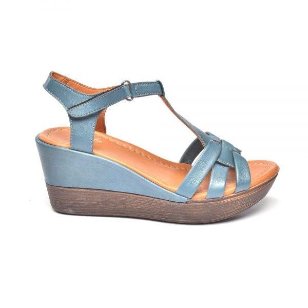 Cerelia Deri Sandalet Mavi