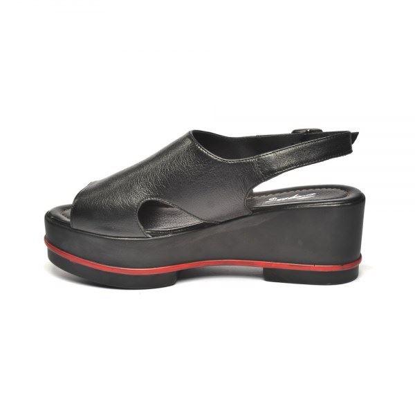 Gia Dolgu Deri Sandalet Siyah