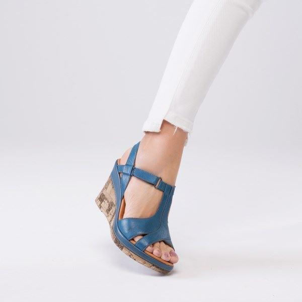 Leonilda Kaplama Dolgu Deri Sandalet Mavi