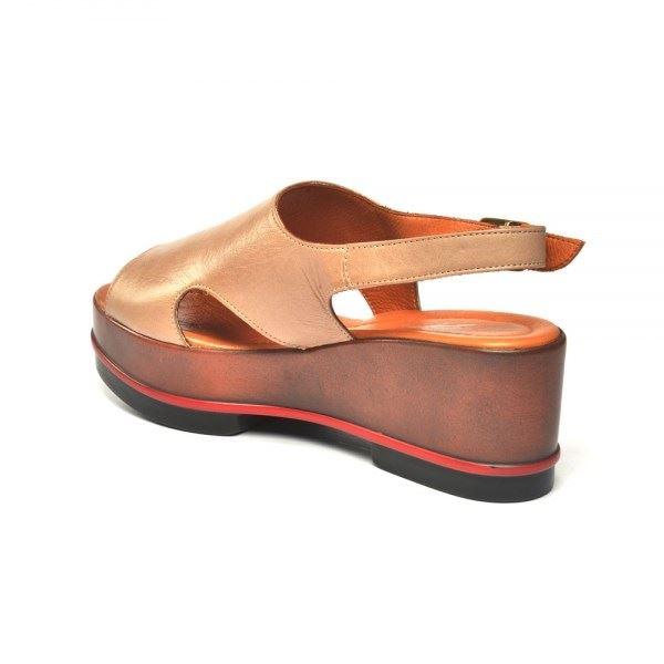 Gia Dolgu Deri Sandalet Kum