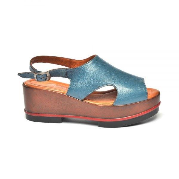 Gia Dolgu Deri Sandalet Mavi