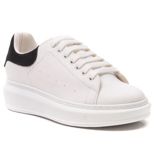 Alese Spor Ayakkabı Beyaz Siyah Süet