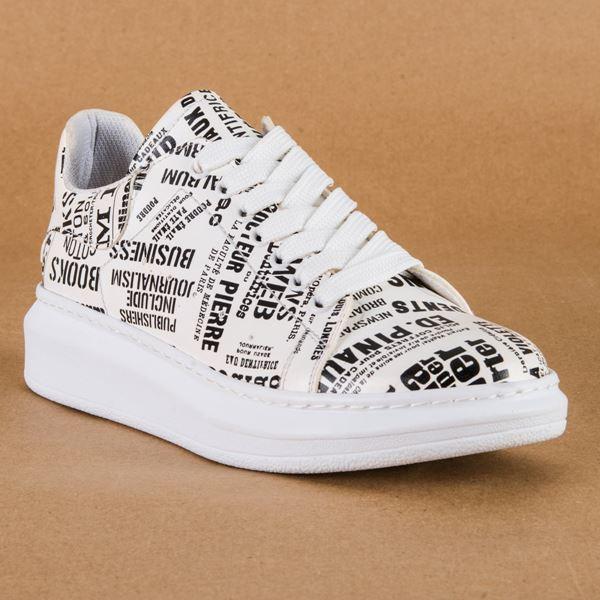Alese Spor Ayakkabı Siyah Beyaz Gazete