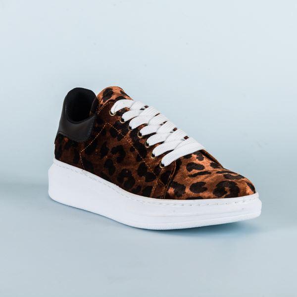 Alese Spor Ayakkabı Leopar Siyah Beyaz Taban