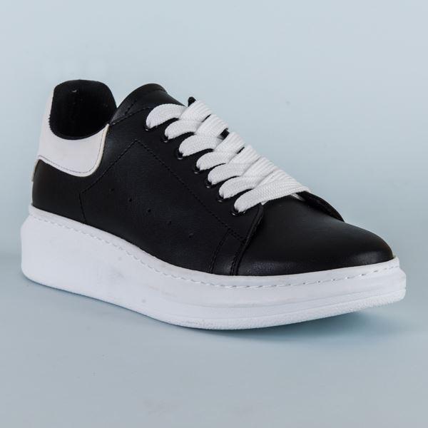 Alese Spor Ayakkabı Siyah Beyaz Beyaz Taban