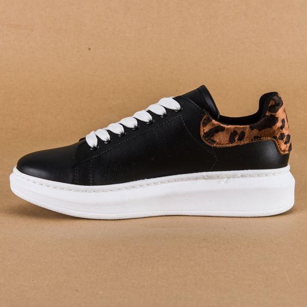 Alese Spor Ayakkabı Siyah Leopar Beyaz Taban