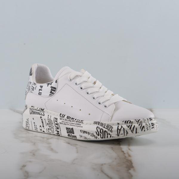 Alese Spor Ayakkabı Beyaza Siyah Gazete