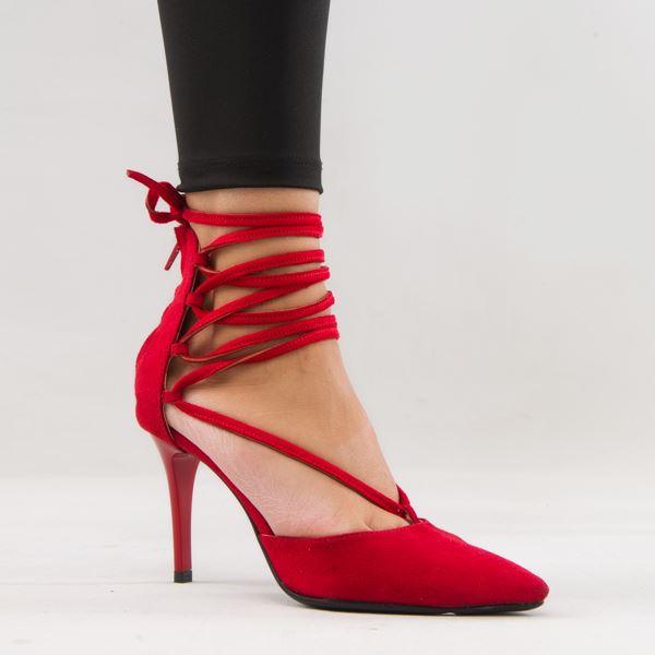 Moreno Kadın Stiletto Kırmızı Süet