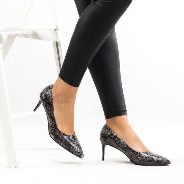 Gratia Kadın Stiletto Gri Yılan