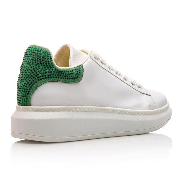 Calvina Kadın Spor Ayakkabı Beyaz Yeşil Süet