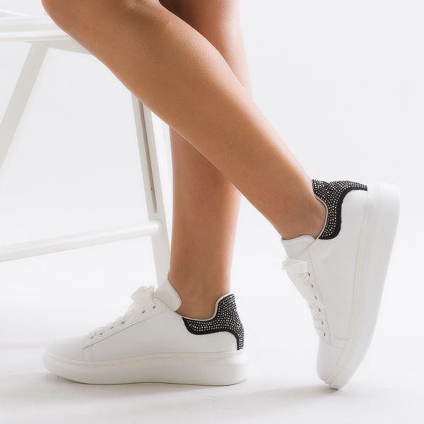 Calvina Kadın Spor Ayakkabı Beyaz Siyah Süet