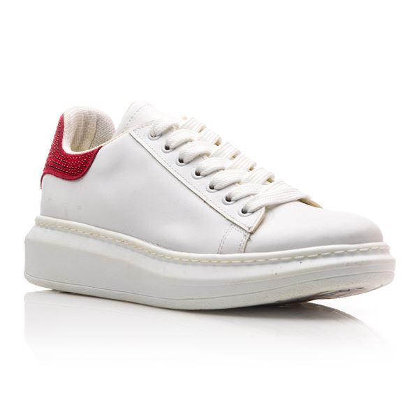 Calvina Kadın Spor Ayakkabı Beyaz Kırmızı Süet