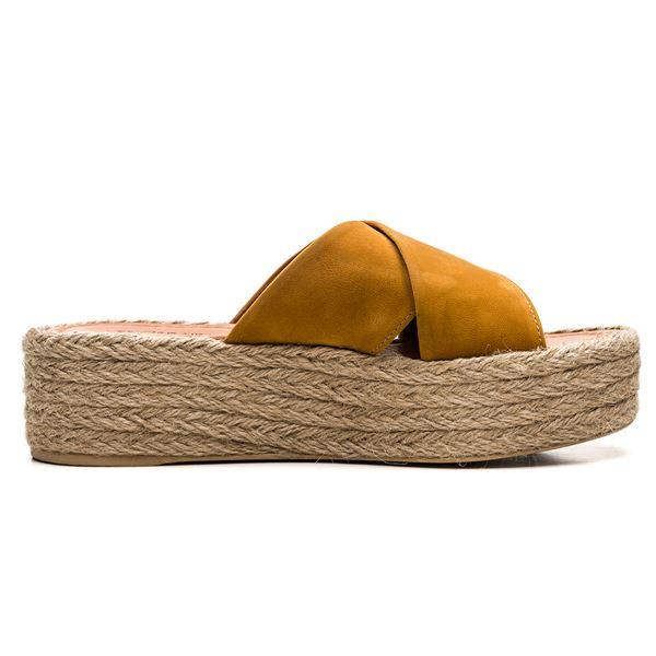 Agnella Süet Terlik Sarı Süet