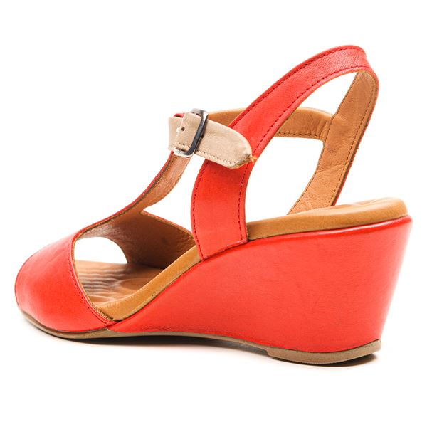 Senalda Kadın Sandalet Kırmızı-Kum