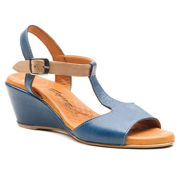 Senalda Kadın Sandalet Mavi-Kum