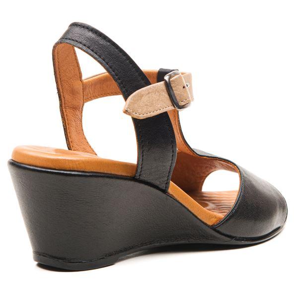 Senalda Kadın Sandalet Siyah-Kum