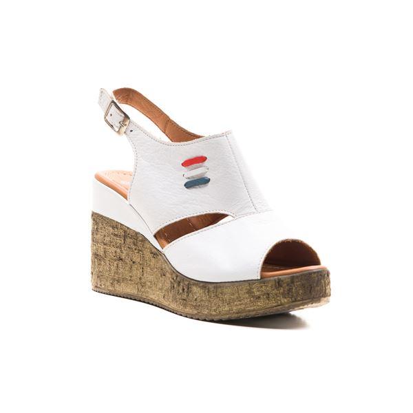 Eron Kadın Deri Dolgu Sandalet Beyaz