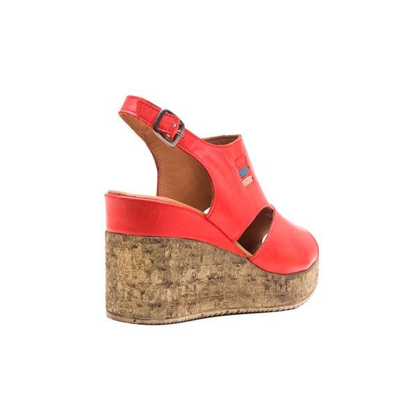 Eron Kadın Deri Dolgu Sandalet Kırmızı