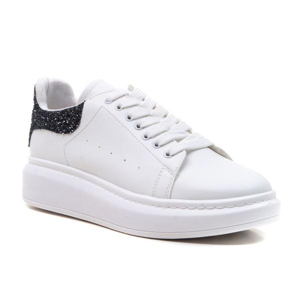 Alese Spor Ayakkabı Beyaz Siyah Cam