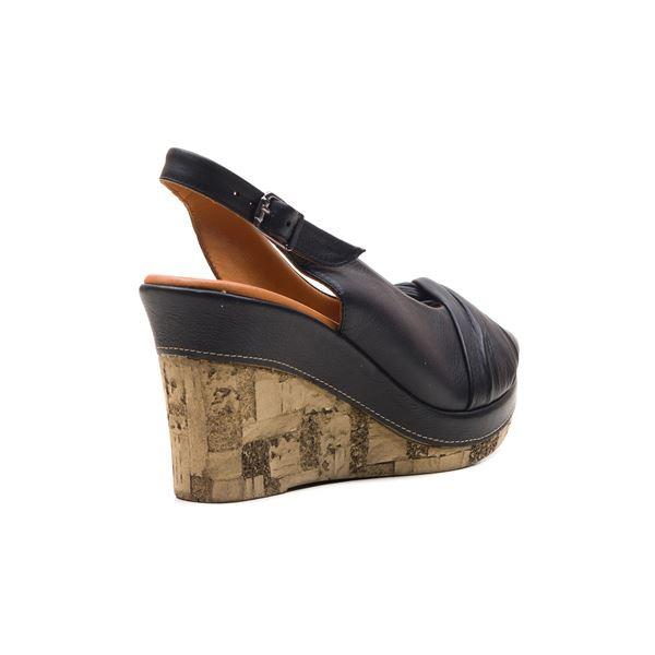 Luca Kaplama Dolgu Deri Sandalet Siyah