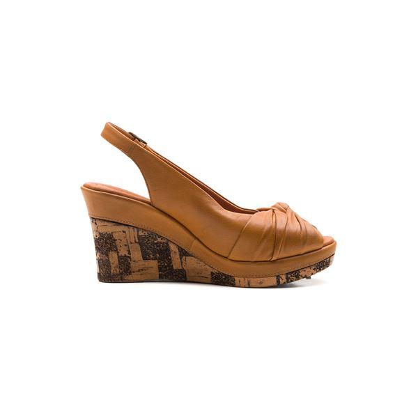 Luca Kaplama Dolgu Deri Sandalet Taba