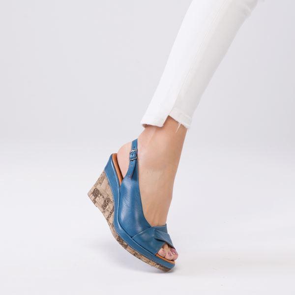 Lucie Kaplama Dolgu Deri Sandalet Mavi