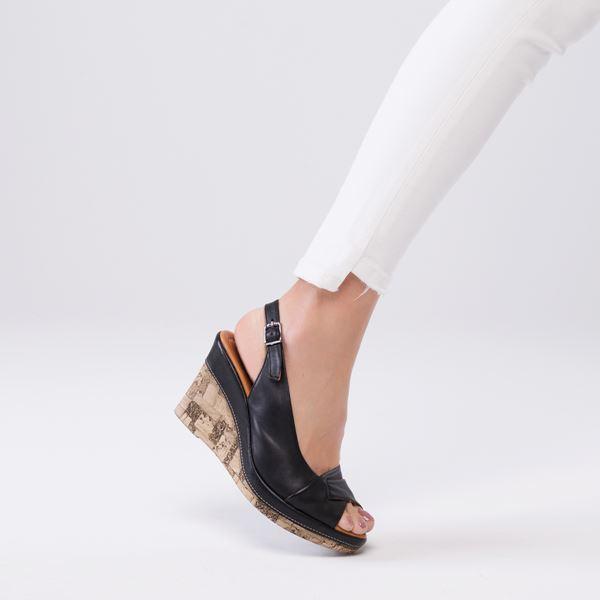 Lucie Kaplama Dolgu Deri Sandalet Siyah