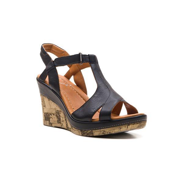 Leonilda Kaplama Dolgu Deri Sandalet Siyah