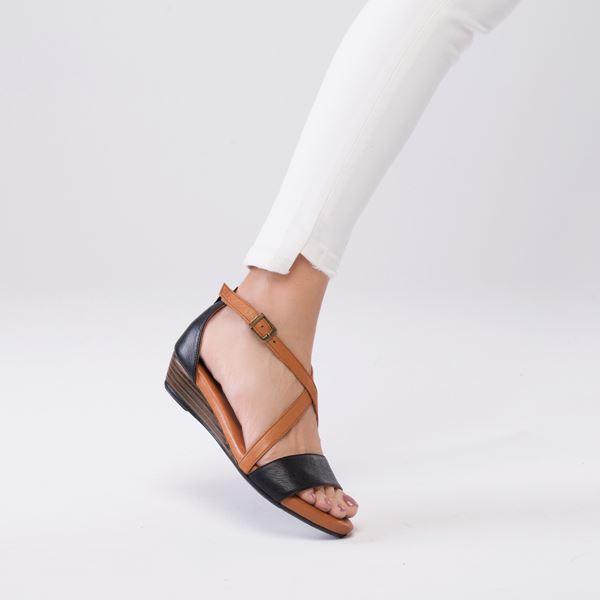 Piel Kadın Deri Sandalet Siyah Taba