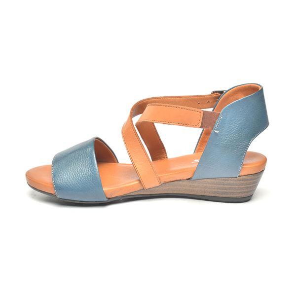 Verano Kadın Deri Sandalet Mavi Taba