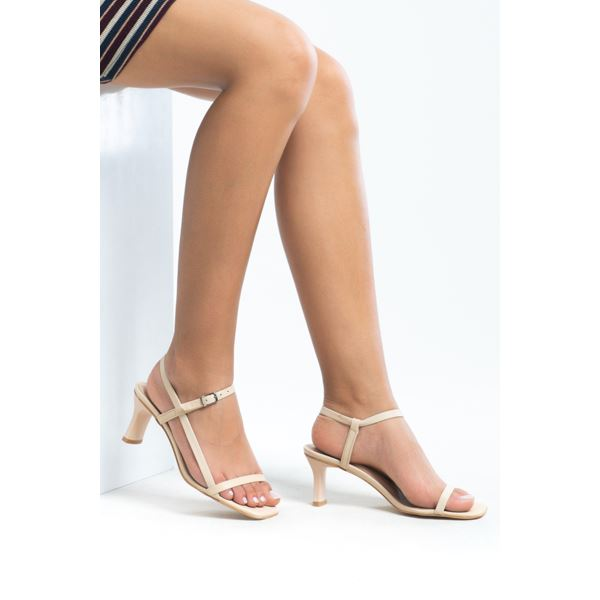 Alpha Kadın Deri Sandalet Bej