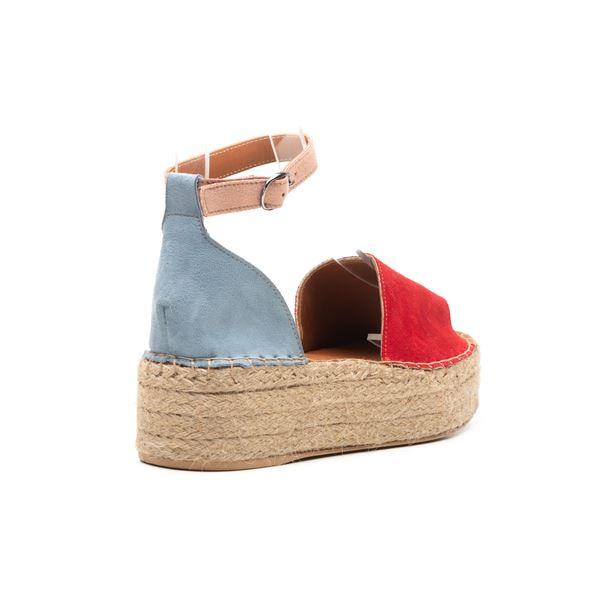Bionda Kadın Sandalet Kırmızı-Mavi-Pudra Süet