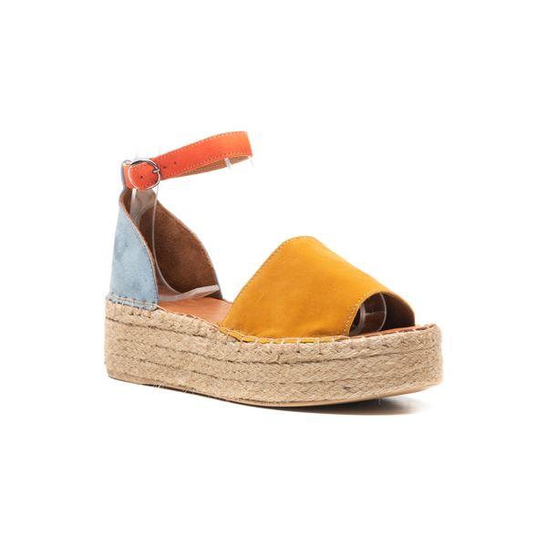 Bionda Kadın Sandalet Sarı-Mavi-Oranj Süet