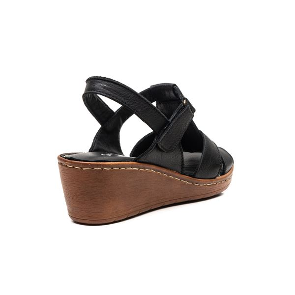 Julina Kadın Deri Sandalet Siyah