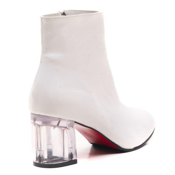 Ellinor Kadın Bot Beyaz Rugan Şeffaf Taban