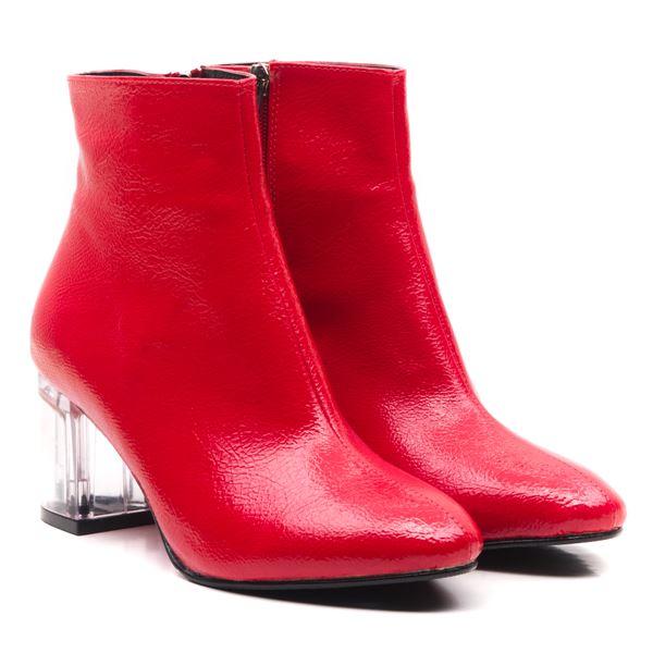 Ellinor Kadın Bot Kırmızı Rugan Şeffaf Taban