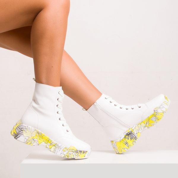 Telma Kadın Spor Bot Beyaz Sarı Taban