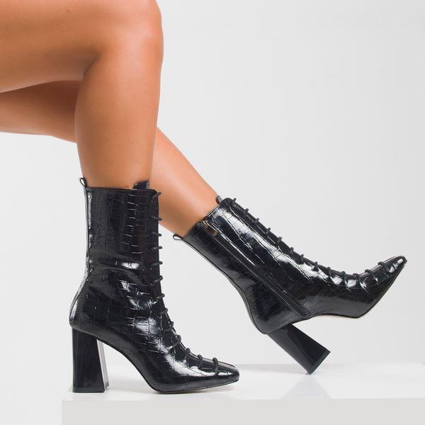 Prada Kadın Bot Siyah Kroko