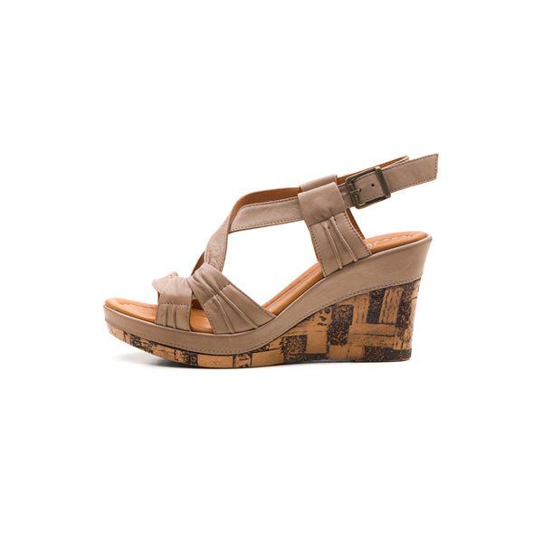 Loreana Kaplama Dolgu Deri Sandalet Kum