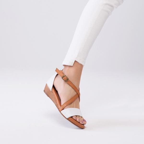 Piel Kadın Deri Sandalet Beyaz Taba