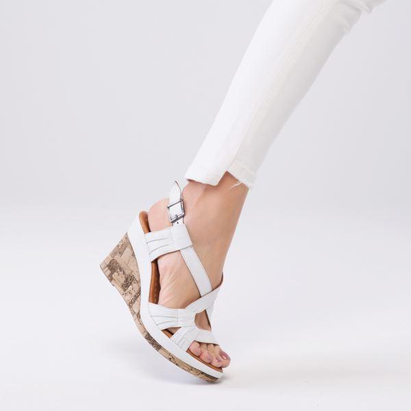 Loreana Kaplama Dolgu Deri Sandalet Beyaz