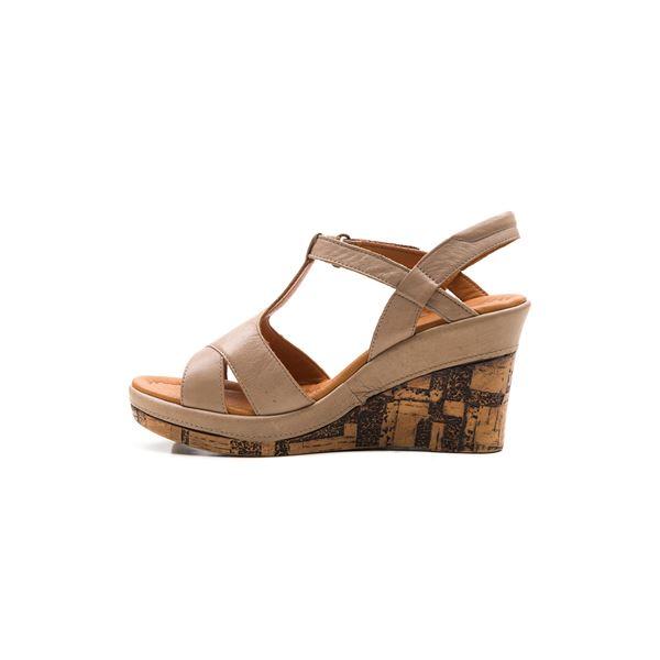 Leonilda Kaplama Dolgu Deri Sandalet Kum