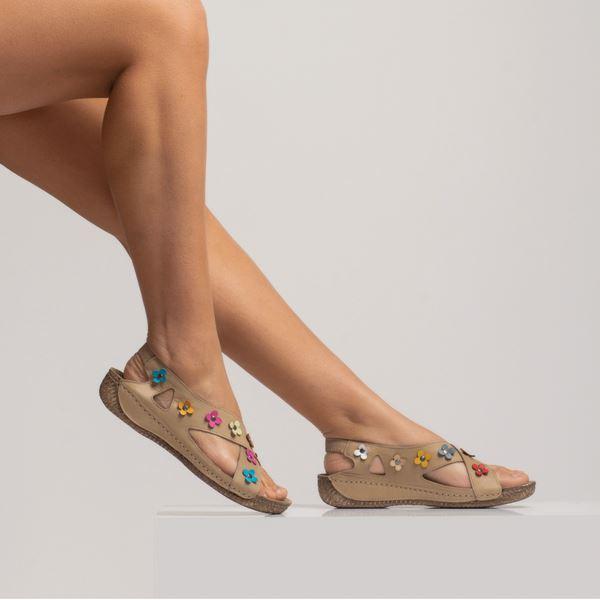 Alanis Kadın Deri Sandalet Kum