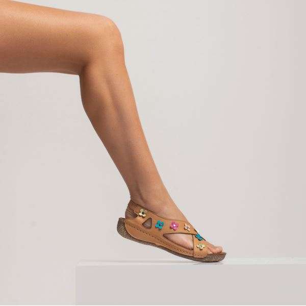 Alanis Kadın Deri Sandalet Taba