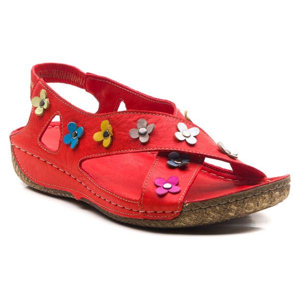 Alanis Kadın Deri Sandalet Kırmızı