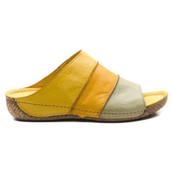 Adan Kadın Deri Terlik Sarı Hardal Yeşil