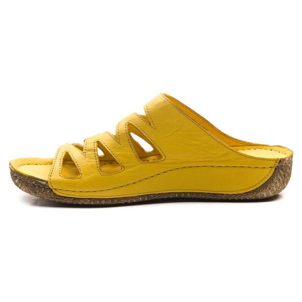 Asher Kadın Deri Terlik Sarı Kum