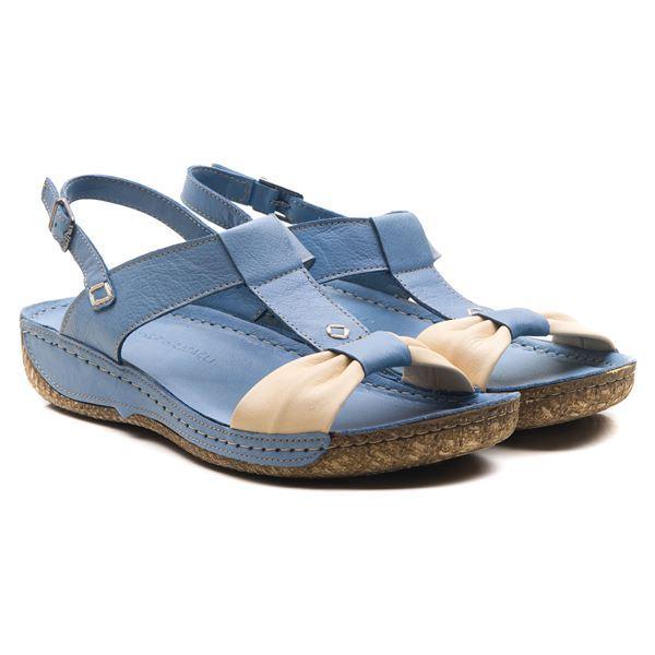 Axel Kadın Deri Sandalet Mavi Bej